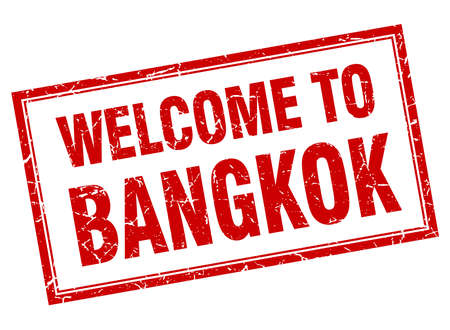 bangkok: Bangkok red square grunge welcome isolated stamp Illustration