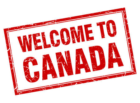 canada stamp: Canada red square grunge welcome isolated stamp