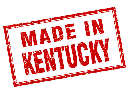 kentucky: Kentucky red square grunge made in stamp