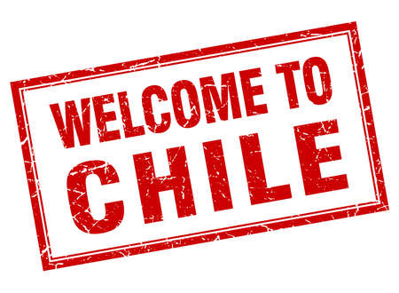 chile: Chile red square grunge welcome isolated stamp