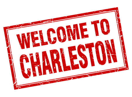 charleston: Charleston red square grunge welcome isolated stamp Illustration