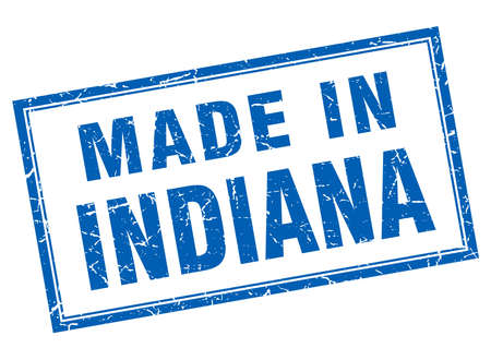 indiana: Indiana blue square grunge made in stamp Illustration