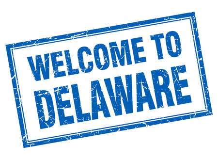 delaware: Delaware blue square grunge welcome isolated stamp