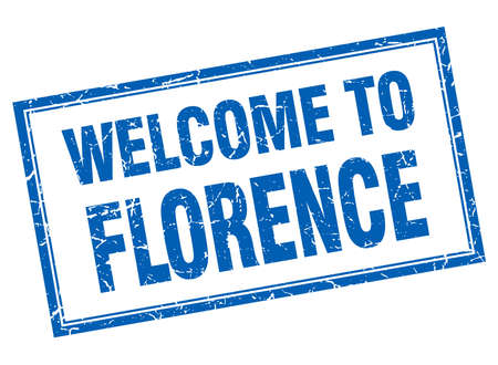 florence: Florence blue square grunge welcome isolated stamp