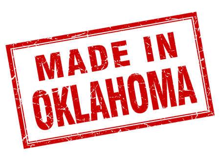 Oklahoma quadrato rosso grunge fatta in bollo Archivio Fotografico - 46292039