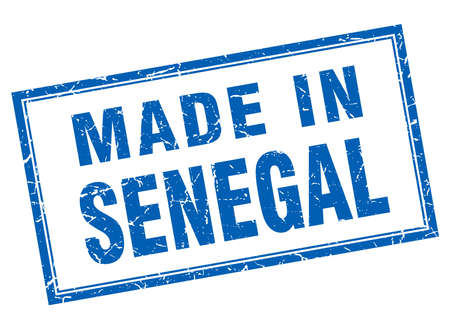 senegal: Senegal blue square grunge made in stamp