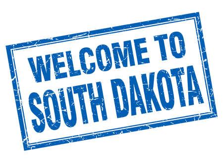 south dakota: South Dakota blue square grunge welcome isolated stamp