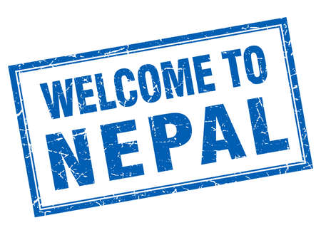 nepal: Nepal blue square grunge welcome isolated stamp Illustration