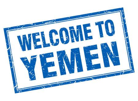 yemen: Yemen blue square grunge welcome isolated stamp