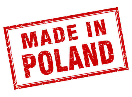 poland: Poland red square grunge made in stamp