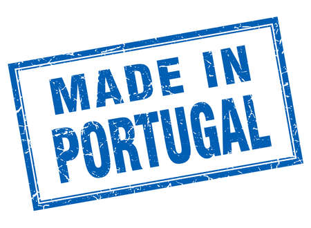 made in portugal: Portugal blue square grunge made in stamp