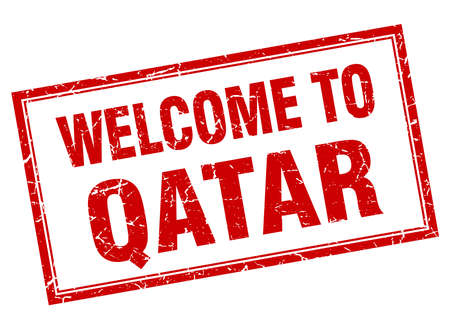 qatar: Qatar red square grunge welcome isolated stamp