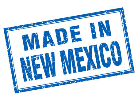 new mexico: New Mexico blue square grunge made in stamp Illustration