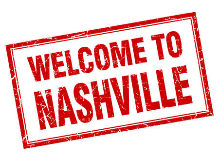 nashville: Nashville red square grunge welcome isolated stamp