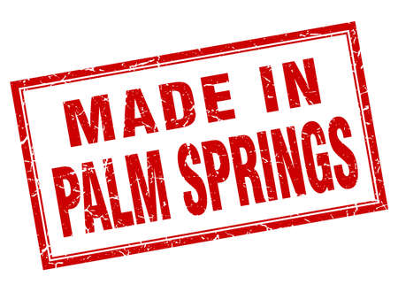 springs: Palm Springs red square grunge made in stamp