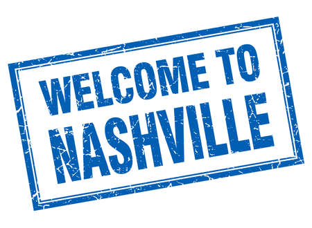 nashville: Nashville blue square grunge welcome isolated stamp