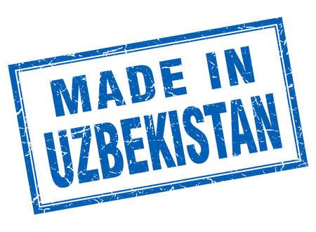 oezbekistan: Uzbekistan blue square grunge made in stamp