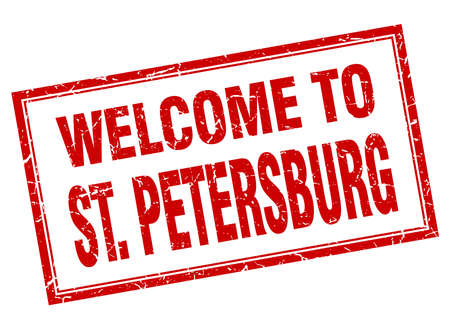 st petersburg: St. Petersburg red square grunge welcome isolated stamp