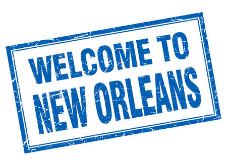 orleans: New Orleans blue square grunge welcome isolated stamp