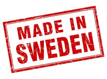 sweden: Sweden red square grunge made in stamp