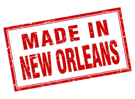 orleans: New Orleans red square grunge made in stamp Illustration