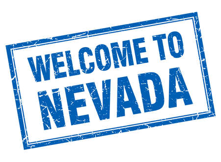 nevada: Nevada blue square grunge welcome isolated stamp