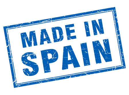 made in spain: Spain blue square grunge made in stamp