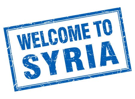Syria: Syria blue square grunge welcome isolated stamp
