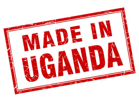 uganda: Uganda red square grunge made in stamp Illustration