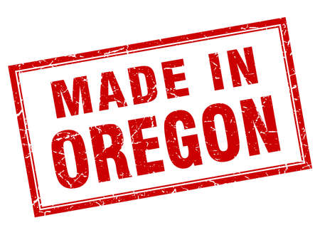 oregon: Oregon red square grunge made in stamp