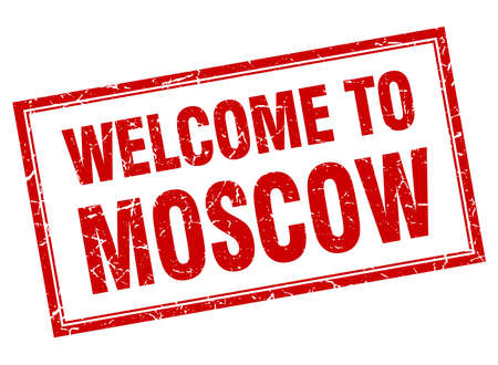 red square moscow: Moscow red square grunge welcome isolated stamp