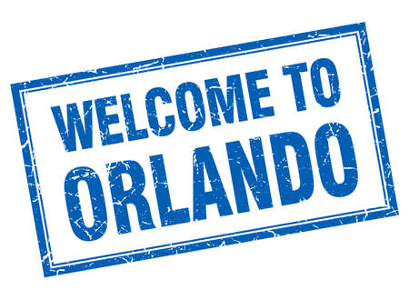 orlando: Orlando blue square grunge welcome isolated stamp Illustration