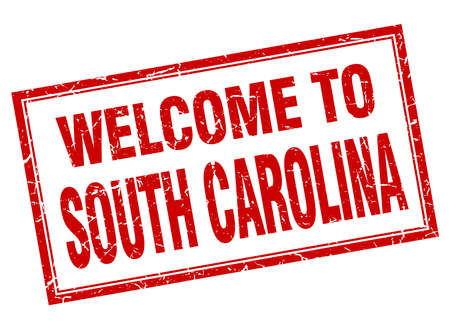 south carolina: South Carolina red square grunge welcome isolated stamp