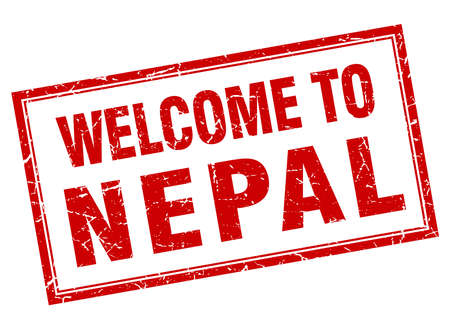 nepal: Nepal red square grunge welcome isolated stamp