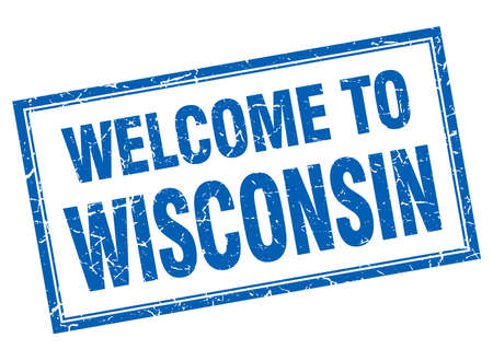 wisconsin: Wisconsin blue square grunge welcome isolated stamp