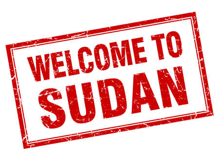 sudan: Sudan red square grunge welcome isolated stamp Illustration