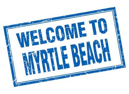 myrtle beach: Myrtle Beach blue square grunge welcome isolated stamp