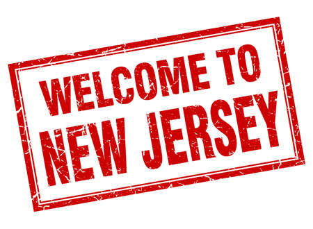new jersey: New Jersey red square grunge welcome isolated stamp Illustration