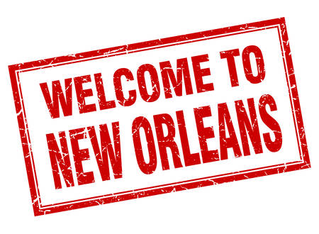 orleans: New Orleans red square grunge welcome isolated stamp