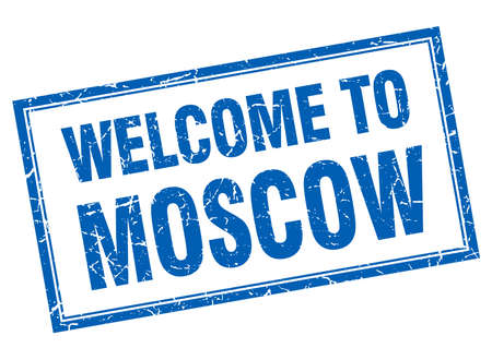 moscow: Moscow blue square grunge welcome isolated stamp