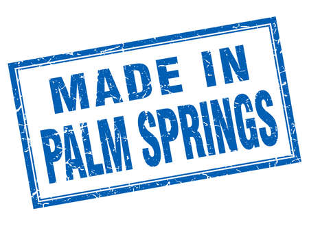 palm springs: Palm Springs blue square grunge made in stamp
