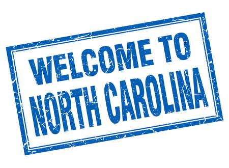 north carolina: North Carolina blue square grunge welcome isolated stamp