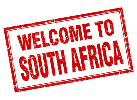 South Africa red square grunge welcome isolated stamp