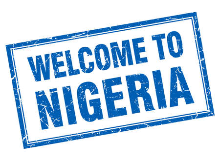 nigeria: Nigeria blue square grunge welcome isolated stamp