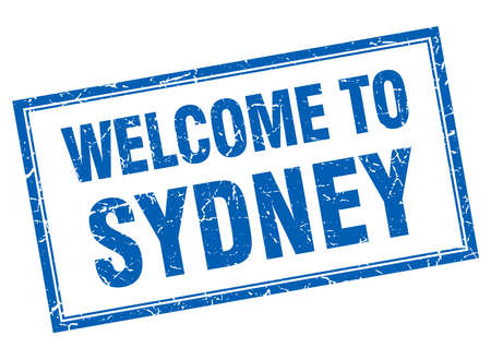 sydney: Sydney blue square grunge welcome isolated stamp