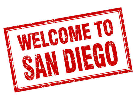 san diego: San Diego red square grunge welcome isolated stamp
