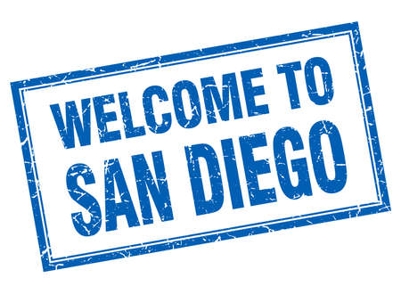 san diego: San Diego blue square grunge welcome isolated stamp