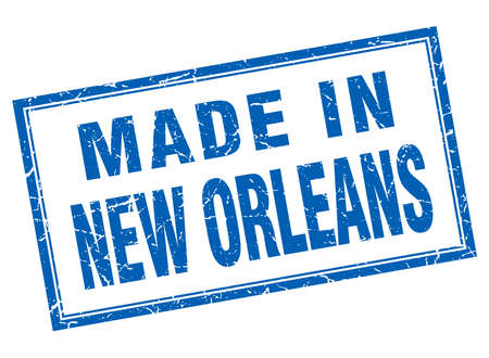 orleans: New Orleans blue square grunge made in stamp