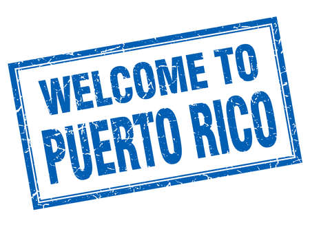 puerto rico: Puerto Rico blue square grunge welcome isolated stamp