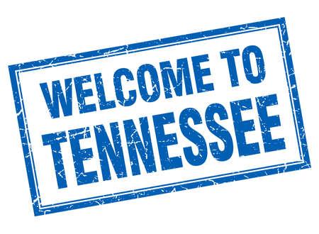 tennessee: aislado Tennessee grunge azul cuadrada de bienvenida sello